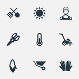 Set Of 9 Simple Gardening Icons. Can Be Found Such Elements As Shear, Wheelbarrow, Horticulture Equipment And Other.