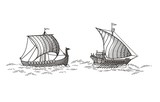 Galley and Drakkar  vector