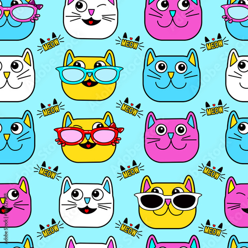 zabawne-kociaki,-wzor-tapety,-koty,-niebieskie-tlo