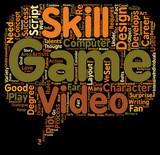 Video Game Design Requires Multiple Talents text background wordcloud concept