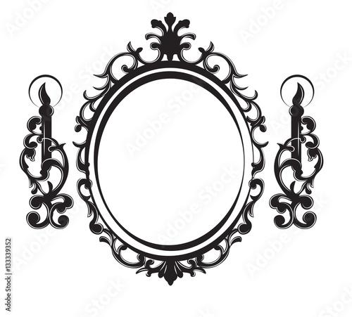 Vintage frame with lamps baroque mirror vector rich for Baroque mirror canada
