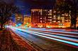 Long exposure HDR exterior night photo of traffic by Lake Calhoun in Minneapolis, Minnesota