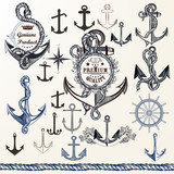 Anchors, labels for logotype or print design in vintage style. H