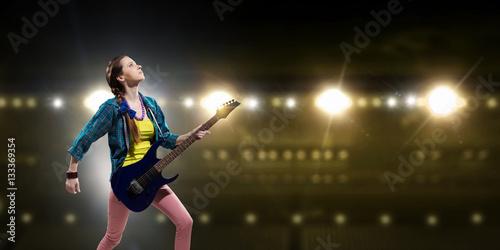 Poster Rock musician at concert . Mixed media