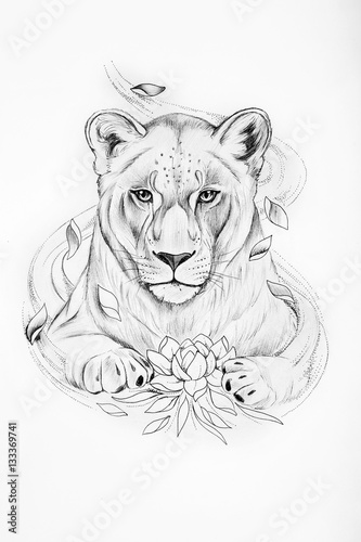 Sketch of lion with a lotus on white background. - 133369741