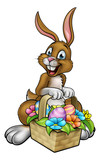 Easter Bunny Holding Egg Hunt Basket