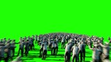 A large crowd of zombies. Apocalypse, halloween concept. 4K green screen animation.