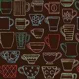 Hand drawn coffee cups and mugs in various shapes seamless pattern background 2 - 133374590