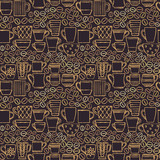 Hand drawn cups and mugs with coffee beans seamless pattern background 1 - 133374764