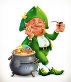Leprechaun and pot of gold coins. Feast of Saint Patrick 3d vector icon