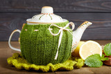 Teapot with handmade knitted cover, lemon, cinnamon, mint - 133383180
