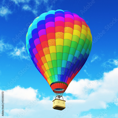 Color rainbow hot air balloon in the blue sky with clouds - 133383372