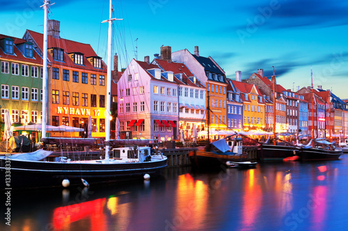 Poster Evening scenery of Nyhavn in Copenhagen, Denmark