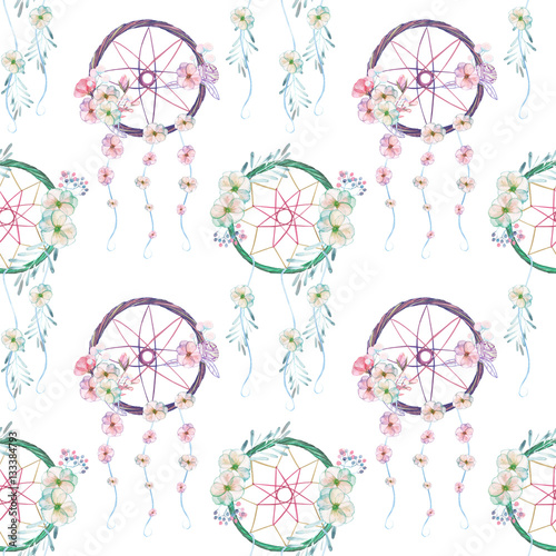 Seamless pattern with floral dreamcatchers, hand drawn isolated in watercolor on a white background - 133384793