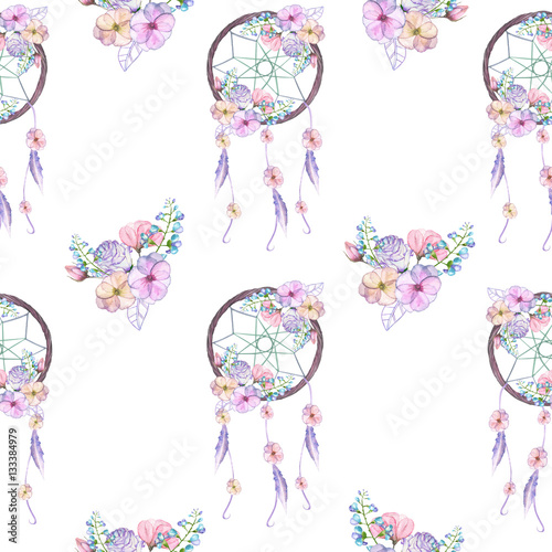 Seamless pattern with floral dreamcatchers, hand drawn isolated in watercolor on a white background - 133384979