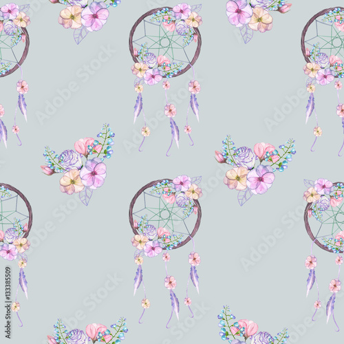 Seamless pattern with floral dreamcatchers, hand drawn isolated in watercolor on a grey background - 133385509
