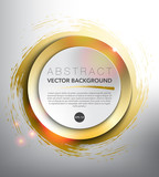 Fototapety Abstract vector background. Round paper notes on the gold, hand-drawn design with realistic light and shadow on the white background. Vector illustration. Eps10.