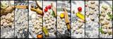 Food collage of italian ravioli .