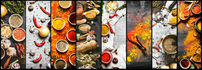 Food collage of indian spice and herb. © Artem Shadrin