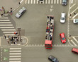 aerial view of pedestrian crossing on street and cars in intersection
