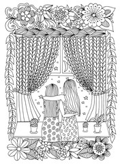 Vector illustration zentangl two sisters at the night window. Dudling. Book coloring, anti stress for adults. Black and white.