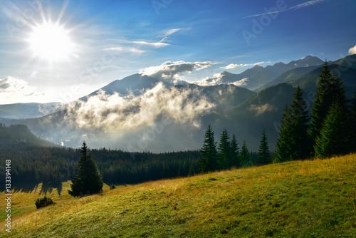 View of Tatra mountain form Rusinowa glade.