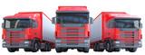 Gruppo di camion con rimorchio