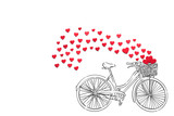 Biking to the love / Creative valentines concept photo of hearts and illustrated bicycle on white background.