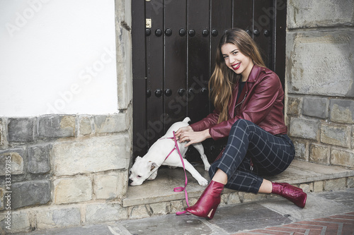 Poster Blond girl with dog