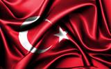 Waving Turkish flag.