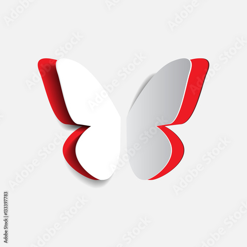 Vector illustration of paper origami red buttrfly
