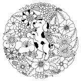 Vector illustration puppy a dalmatian among the flowers. Coloring Book, anti-stress for adults. Black and white.