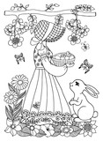 Vector illustration of a girl holding a a basket with chick and bunny watching her. The work Made in manually. Book Coloring anti-stress for adults and children. Black white.