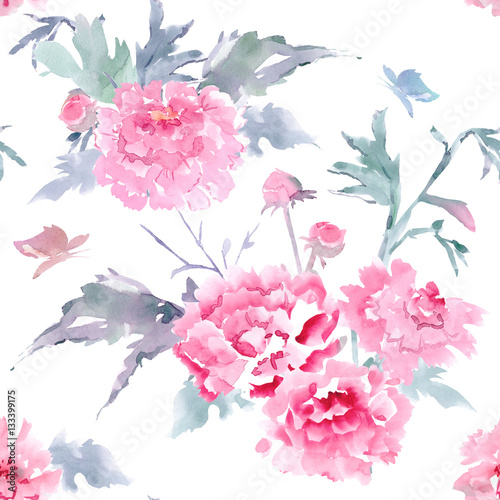 vintage floral seamless texture for your design. watercolor pain - 133399175