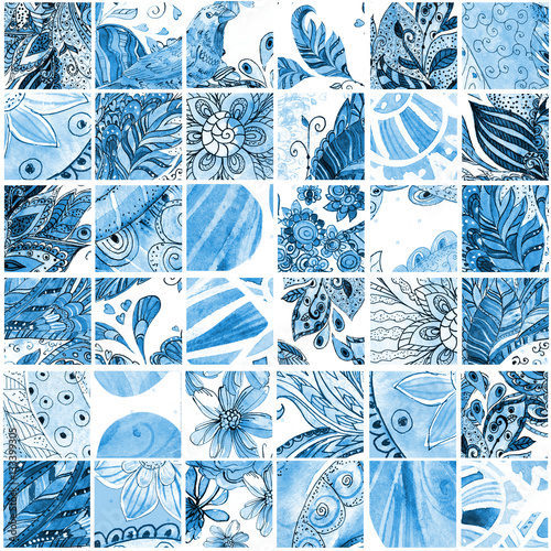 fashion seamless texture with blue floral patchwork pattern. wat - 133399305