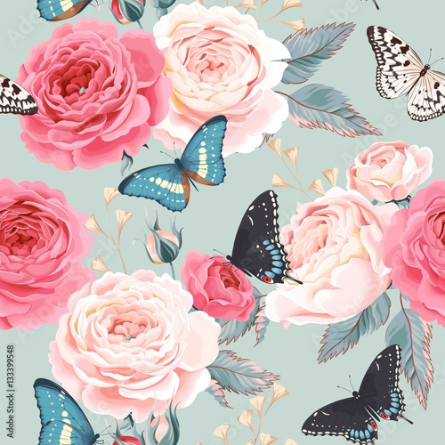 Fototapeta Seamless peony roses and butterfly