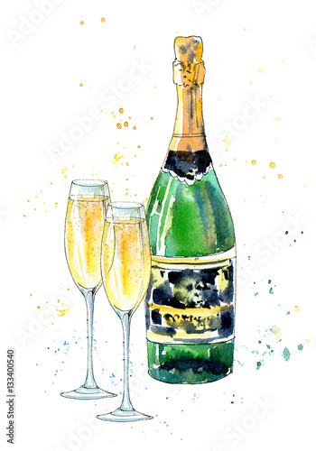 Glass of a champagne and bottle.Picture of a alcoholic drink.Watercolor hand drawn illustration. - 133400540