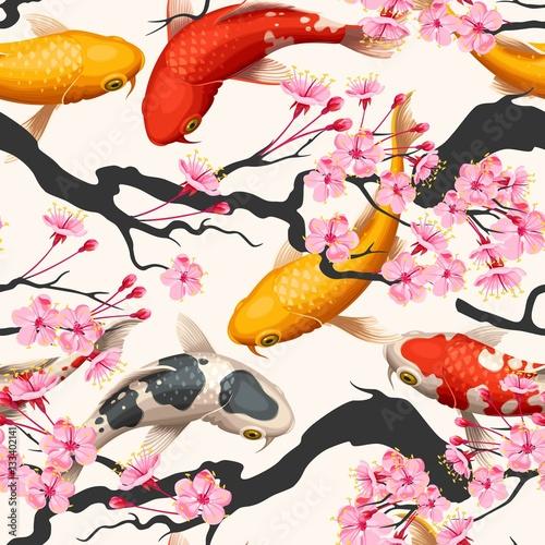 Tapeta Koi fish and sakura seamless