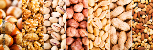 Poster collage of mixed nuts