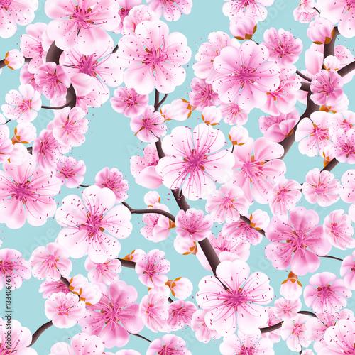 Stoffe zum Nähen Nahtlose rosa Sakura Zierkirsche. EPS 10