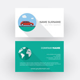 red car on the road. vector professional business card