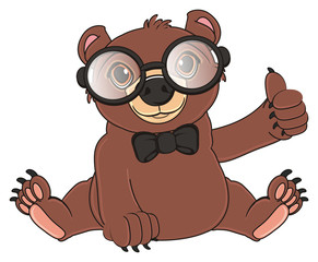 animal, bear, toy, cartoon, brown, grizzly, illustration, wood, honey, den, brown bear, sit, gesture, cool, glasses, bow, black