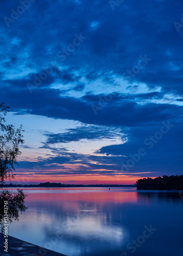 Poster Landscape. Dawn over the broad river