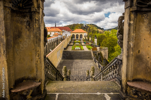 Poster View of Rose garden in Decin, Czech Republic