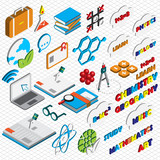 illustration of info graphic education icons set concept in isometric 3d graphic