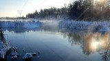 River Steam in a frosty winter day