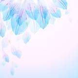 Floral round pattern of blue flower petals - 133421542