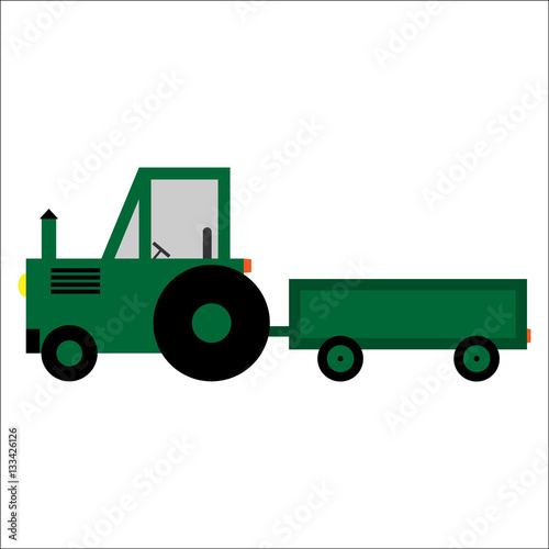 Poster Vector illustration of a toy green tractor with cargo on a white background