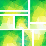 Vector banners set with polygonal abstract triangles. Abstract polygonal low poly banners. Yellow, green colors.
