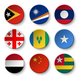 Set of world flags round badges ( East Timor . Marshall Islands . Laos . Georgia . Saint Vincent and the Grenadines . Somalia . Yemen . China . Togo )